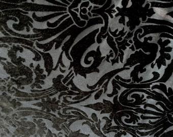 4-Way Stretch Velvet Burnout Fabric - Damask Black/Black