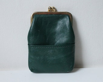 Vintage Coin Purse, Green Coin Purse Clutch, 50s Style Accessory Wallet