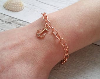 Rose gold anchor bracelet | nautical jewellery
