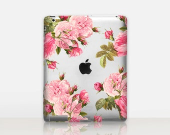 Pink Roses Transparent iPad Case For - iPad 2, iPad 3, iPad 4 - iPad Mini - iPad Air - iPad Mini 4 - iPad Pro