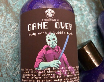 Game Over Jason themed body wash and bubble bath
