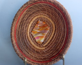 Pine Needle Basket with Glass - Item 685 by Susan Ashley