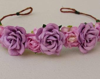Pink Lilac Flower Crowns - Baby Floral Crown, Flower Crown, Flower Boho Crowns, Flower Girl Crowns, Fairy Flower Crown, Boho Floral Crowns