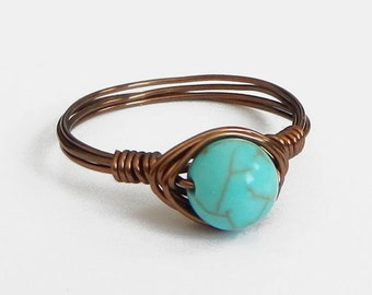 Boho Ring // Wire Wrapped Ring // Turquoise Ring // Wire Ring // Bronze Ring // Cute Ring // Bohemian Ring // Hippie Ring // Simple Ring