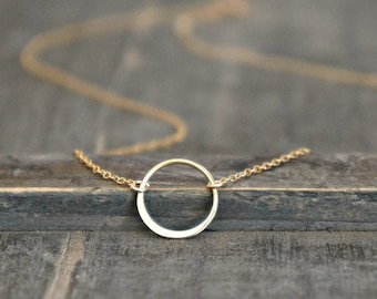 Karma Circle Necklace / Small (12mm) Gold Infinity Pendant on a Gold Filled Chain / Simple Modern Minimalist 14k Gold Floating Ring Necklace