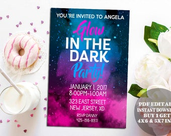Glow in the dark invitations, New Year Invitation, Cheers to the New Year, Printable template, New Years Invitation, New Years pdf editable