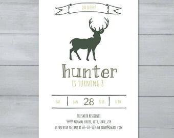 Deer Birthday Party Invitation  |  Hunting Birthday Invitation  |  Buck Invitation