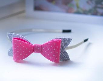 HOOP /Gift hoop / Hair hoop / Hoop for hair / Bow in the hoop / Hair ornament baby Bright hair hoop  / Big hair bows girls / Pink bow