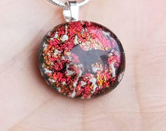 NEW Tiny Cat and Dog Cremation Jewelry 1/2 inch Glass Memorial Pendant Ashes Infused Glass Sterling Silver