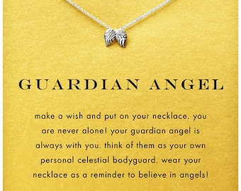 Guardian Angel Inspirational Pendant in White Gold