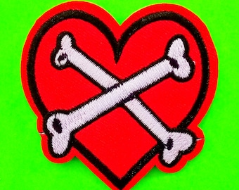 Bones of Love Red Heart and Crossbones Punk Psychobilly Kitsch Embroidered Canvas Iron or Sew On Patch