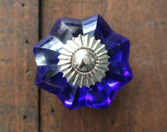 Glass Decorative Drawer Knobs Royal Blue and Silver toned Hardware (CK63)