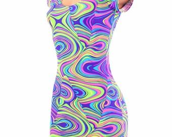UV Glow Neon Glow Worm Print Spandex Bodycon Clubwear Cap Sleeve Mini Dress 150275