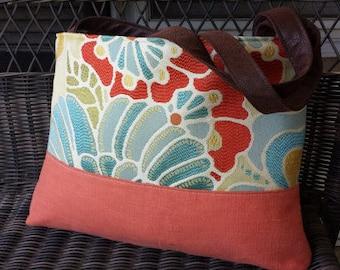 Handbag Tote Shoulder Bag in Orange and Blue Floral
