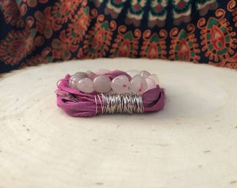 Rose Quartz AND Sari Silk Bracelet Set