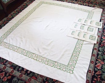 Linen Tablecloth 11 Napkins in Green Cross Stitch Mid Century Vintage Table Linens Tablecloths