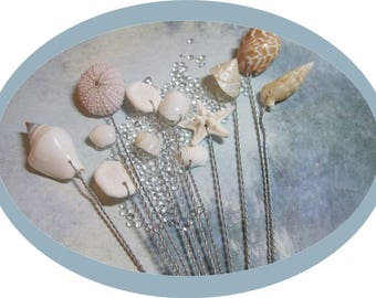 Wired Seashells - A Dozen Starfish and Seashells - Wedding Bouquets and Centerpieces - Ask for Int'l ship rates