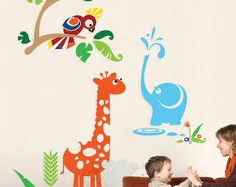 Elephant Shower with Giraffe and Parrot - Jungle Gym Nursery Decals for Kids Children - PLJN020R
