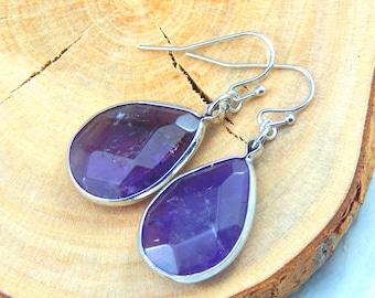 Amethyst Earrings, Silver Amethyst Earrings, Amethyst Jewelry, Gemstone Jewelry