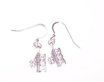 Sterling Silver No. 1 MOM Earrings