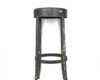 Vintage 1950s Metal Stool Vintage Chipped Paint Black Industrial Metal Stool Old Metal Aged Stool 1950s Industrial Stool