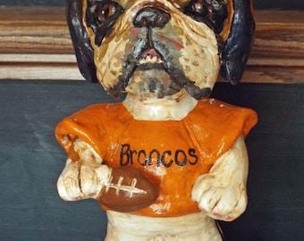 Folk Art Whimsical Vintage Style English Bulldog Football Player Doll Ooak Nostagic Vintage Style New