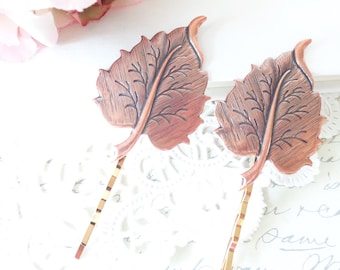 Golden Copper Leaf Hair Pin Set - Leaf Bobby Pin - Woodland Collection - Whimsical - Nature - Bridal