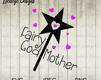 Fairy Godmother SVG, Godmother proposal svg, Baptism SVG, Vinyl cutting file, Silhouette, Cricut, PNG, Cardmaking, Vinyl decal, sticker
