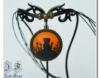 Orange Cat Pendant Polymer Clay pendant Applique Jewelry Applique Cat Gift for Girl Handmade Necklace Embroidery Cat Pendant Gift for her