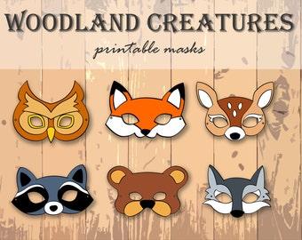 Animal Masks - Animal Party - Animal Printable Masks - Woodland Creatures - Instant Download