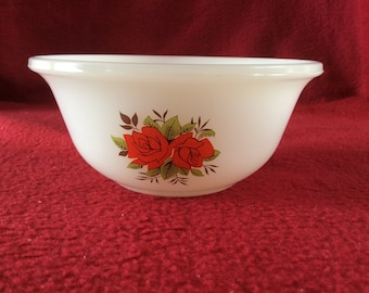 "Phoenix Opalware Red Roses Pattern Bowl 4 1/2"" diameter"