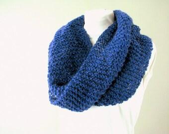 Hand Knit Blue Shawl, Mohair Moebius Cowl Scarf
