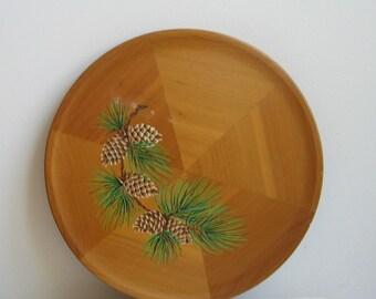 Vintage Wood Wall Art Plate Plaque Cedar Pine Bough Pine Cones, Rustic Cabin Woodlands