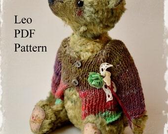 PDF Teddy bear pattern,  8.6 inches (22 cm) - Leo