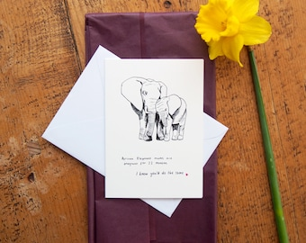 SALE* Mother's Day Card // African Elephant Mums // Elephant Facts // Cute Funny Mother's DBrthday Cards