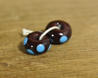 Handmade Lampwork Glass Beads - Brown with Turquoise Dots (1806)