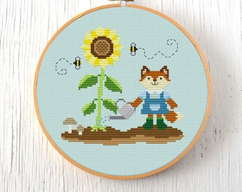 PDF Pattern - Country Critters Growing Sunflowers Cross Stitch Pattern, Sunflower Cross Stitch Pattern, Garden Fox Cross Stitch Pattern