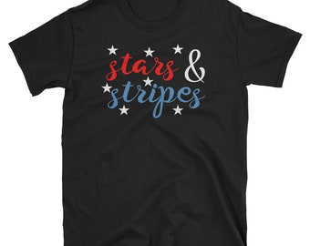Stars And Stripes 4th Of July Women Red White Blue Patriotic T-Shirt
