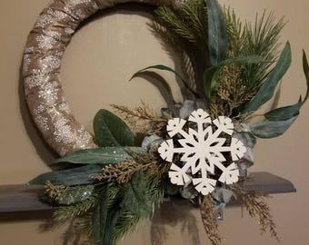 Winter snowflake woodsy wreath
