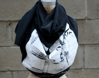 Black Silk Scarf, Industrial Print, Autumn Scarves/Large Scarves