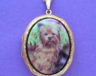 Porcelain Yorkshire Terrier YORKIE Dog canine Cameo Costume Jewelry Goldtone Locket Pendant Necklace Cameo with 24 Inch Chain for Photos