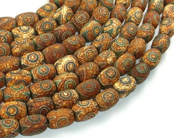 Tibetan Agate, 10x14mm(9.5x13.5mm) Drum Beads, 15 Inch, Full strand, Approx 28 beads, Hole 1.2mm (122078003)