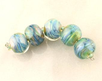Lampwork Glass Bead Set Iridescent Green, Blue, Chunky Beads