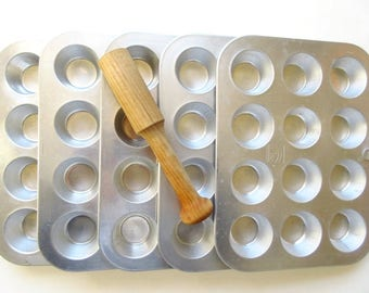 5 Mini Muffin Pans Wood Pastry Tamper Vintage Aluminum