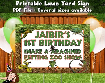 Reptile Party Lawn Yard Sign Printable PDF File Party Decor Frog Spider Lizard Snake Turtle Personalized