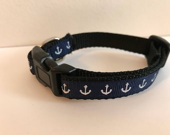 1/2 Inch Navy Blue Anchors Nautical Small Dog Collar
