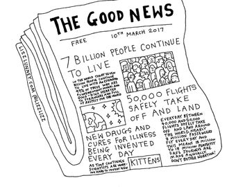 "Riso print: ""The Good News"" A4 size Limited Edition Lizz Lunney Comic"