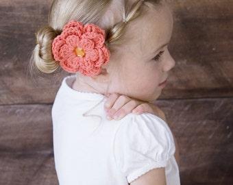 Tangerine Hair Clip Crochet Flower Hair Clip Flower Barrette Tangerine Barrette Orange Hair Clip Coral Hair Clip Orange Barrette Spring