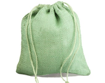 """Spring Moss Jute Party Bags - 10"""" x 12"""" (10 Pack)"""