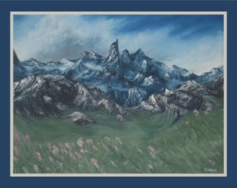 "18x24"" Original Oil Painting - Rocky Mountains Wall Art"